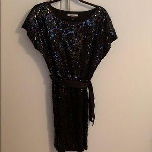 Black sequins short sleeve dress